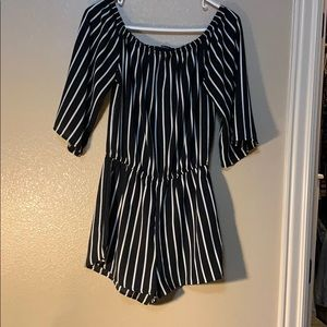 Ambiance Dresses - Trendy black and white romper
